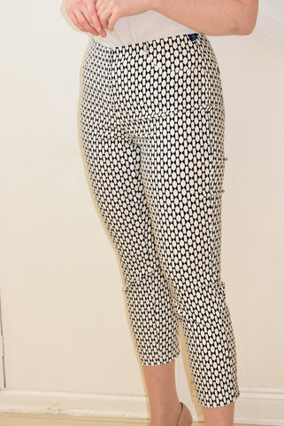 White and Black Bella Trousers in a Geometric Design