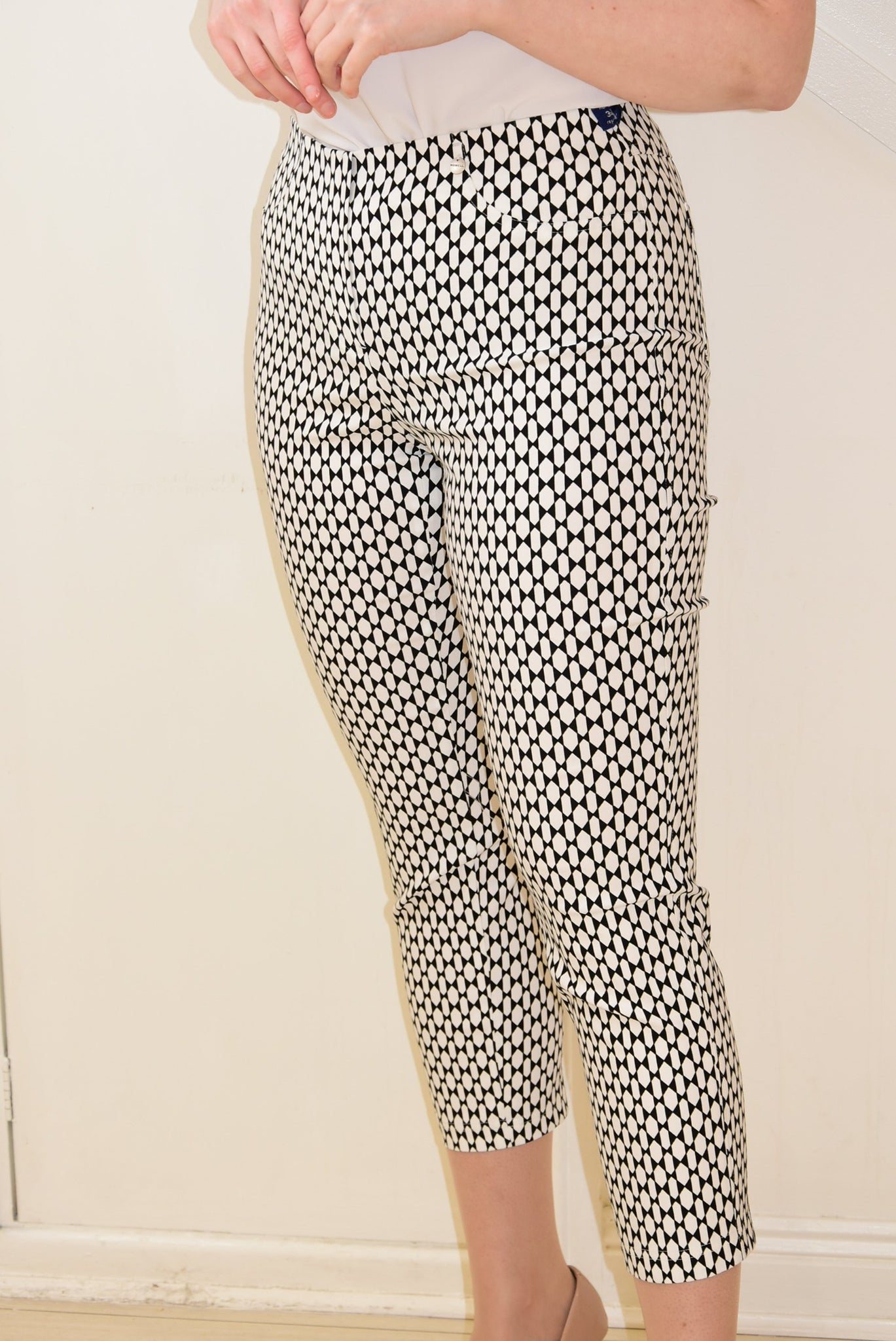 White and Navy Bella Trousers in a Geometric Design