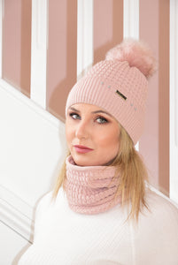 Dusky Pink Julia Cable Knit Beanie and Snood Set