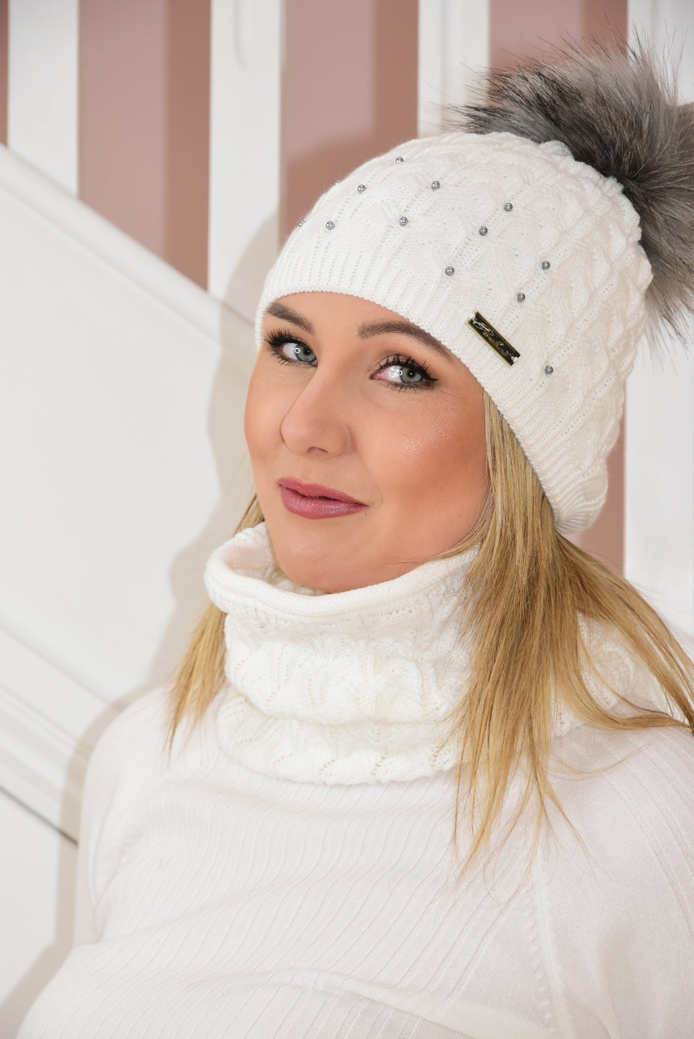 White Knit Beanie and Snood Set With Bead Detail