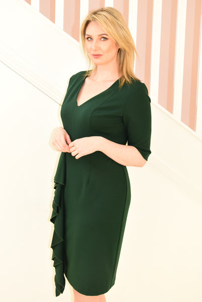 Emerald Green Dress With Ruffled Detail On Side