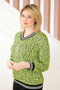 Lime Green Leopard Print Top