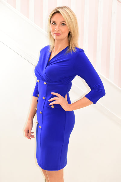 Dress With Button Detail/ Low Neckline Royal Blue