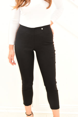 Black Robell Bella 09 Trousers With Leopard Print Side Detail