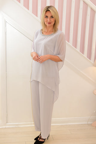 2 Piece Grey Pants Suit With Silver Trim on Neckline
