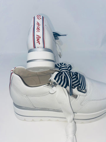 White Sneakers With Navy Stripe Bow