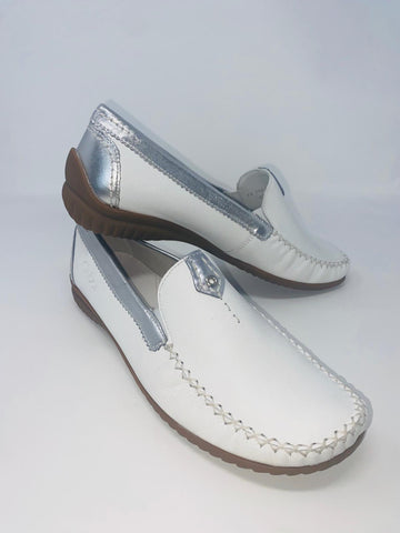 White Moccasin With Silver Detail