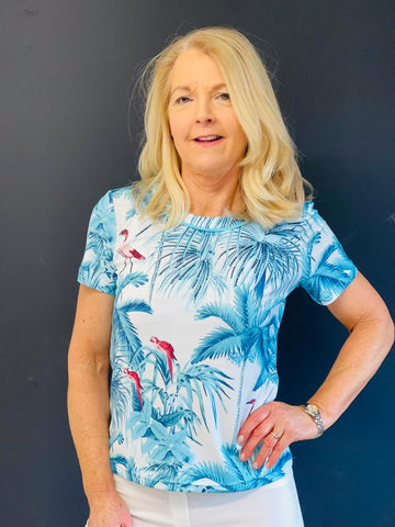 Teal T-Shirt With Bird and Palm Tree Design