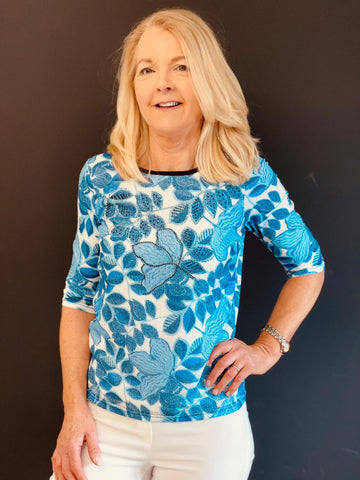 Blue Leaf Design Top With Diamante Detail