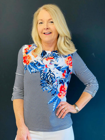 Coral and Blue Floral Top With Stripe Detail