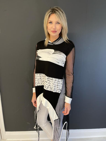 Black and White Mesh Tunic With Hood