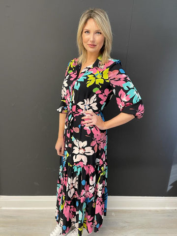 Navy Maxi Dress With Multicolour Floral Print