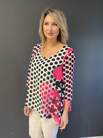 Pink and Black Dotted Tunic