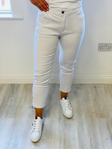 White Denim Jean With Zips On Bottom