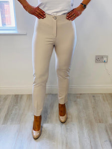 Beige Trouser With Faux Back Pockets