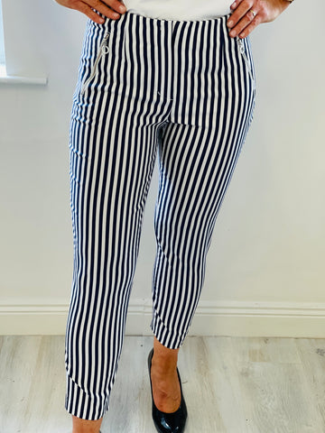 Navy Pinstripe Holly Trousers