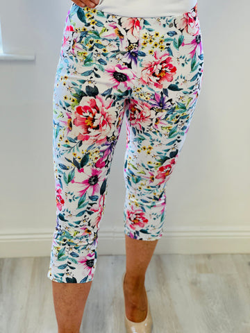 Cream Trousers with Multicolour Floral Design
