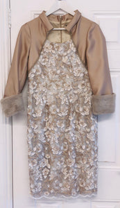 Carmen Melero-Dress With Faux Fur Cuff On Sleeve