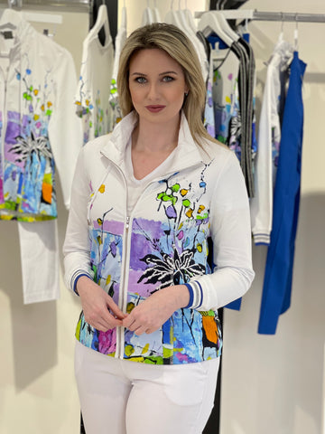 White Zip-Up Jacket With Pol Ledent Art Design