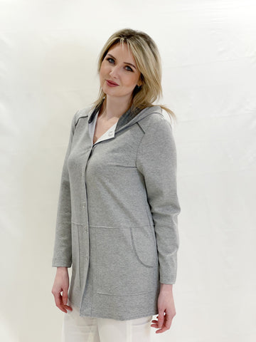 Grey Light Jacket With Hood and Silver Shimmer Detail