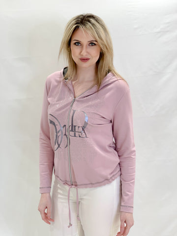 Dusky Pink Hoodie with Diamante Detail