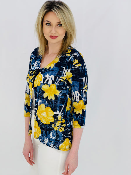 Navy Top With Yellow Floral