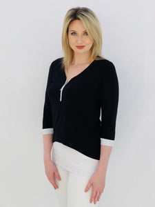 Black and White Tunic With Zip