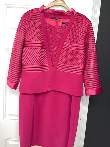 2 Piece Vintage Cranberry  Dress & Jacket With Lace Detail