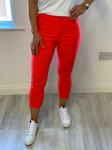 "Neon Orange""Lena"" Lattice Trousers"