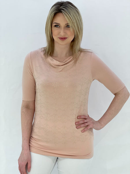 Pink Cowl Neck Top With Gold Studs