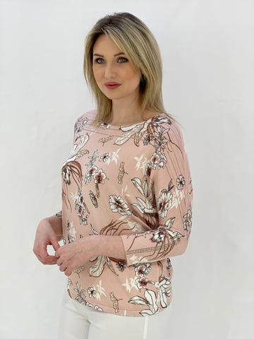 Pink Jumper with Diamante Sleeve Detail
