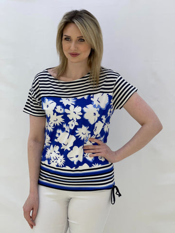 Navy and Blue T-Shirt With Floral and Stripe Design