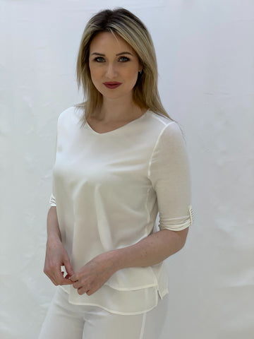 White Layered Effect Top With Diamante Sleeve Detail