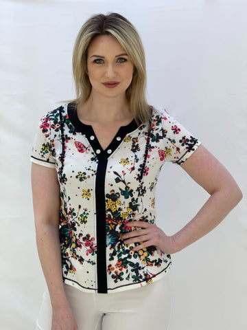 White Top With Black and Multicolour Floral Design