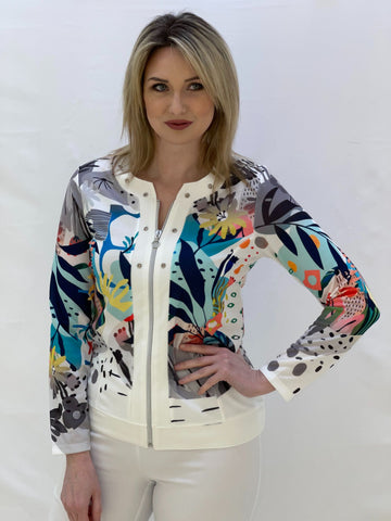 White Light Jacket With Multicolur Floral Design