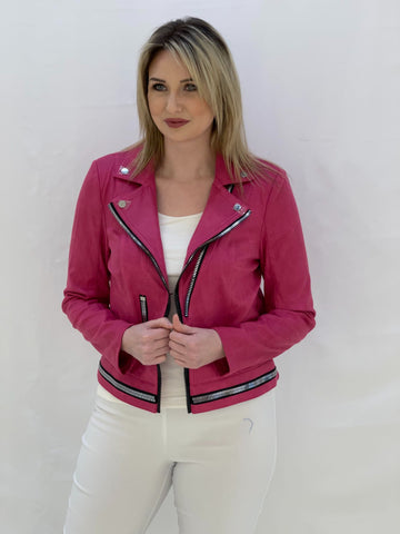 Hot Pink Biker Style Jacket WIth Chunky Zips
