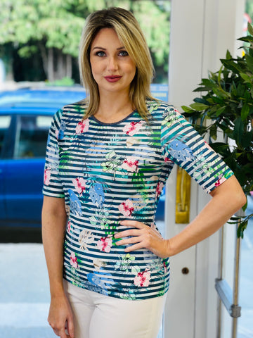 Floral Design T-shirt with Navy Stripe