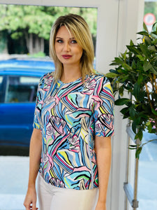 Multicolour T-Shirt With Abstract Floral Design