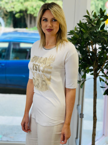 White T-Shirt With Writing