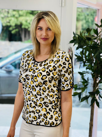 Leopard Print T-Shirt With Black Trim