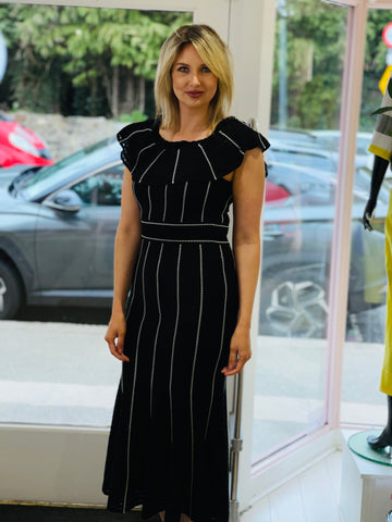 Black Knit Dress With White Features
