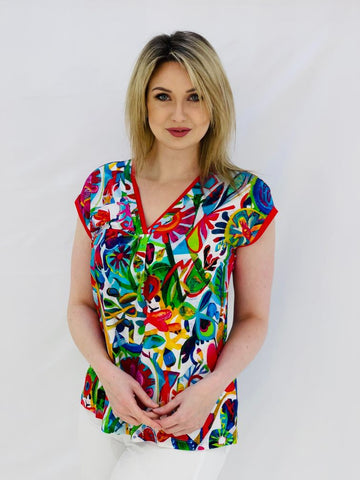 V-Neck Top With Clear Diamante and Este MaCleod Art Design