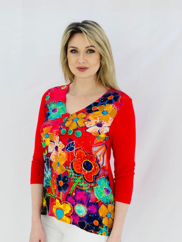 Virgo 'Fiesta' Multi Colour Top With Clasp Top