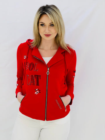 Red Zip Up Jacket With Writing