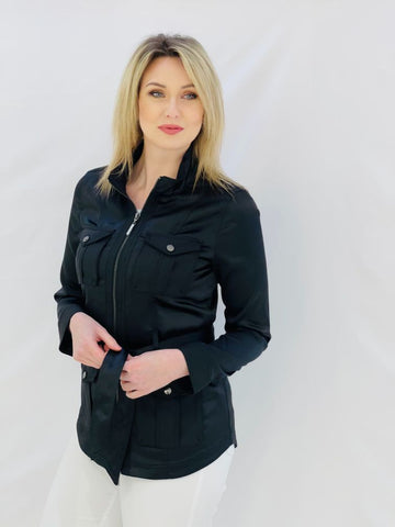 "Black ""Silk"" Jacket With Pockets"