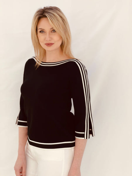 Black Jumper with Cream Stripes