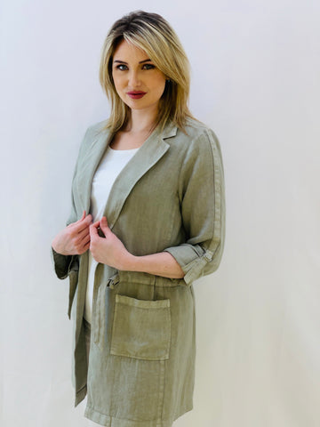 Long Khaki Linen Jacket