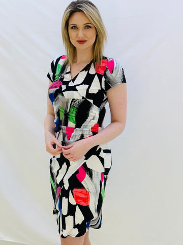 Wrap Style Dress With Neon Colour Brush Stroke
