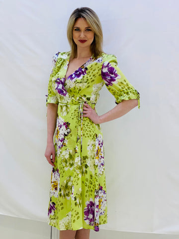 Silk Lime Green Wrap Dress With Purple Floral Design