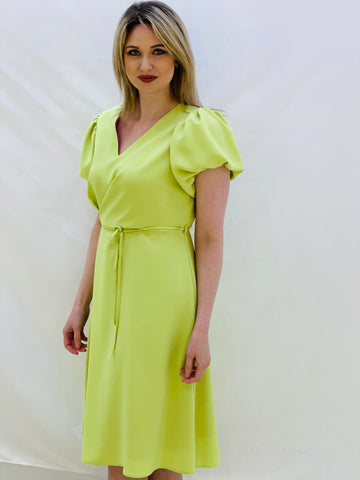 Lime Green Dress With Puff Sleeves